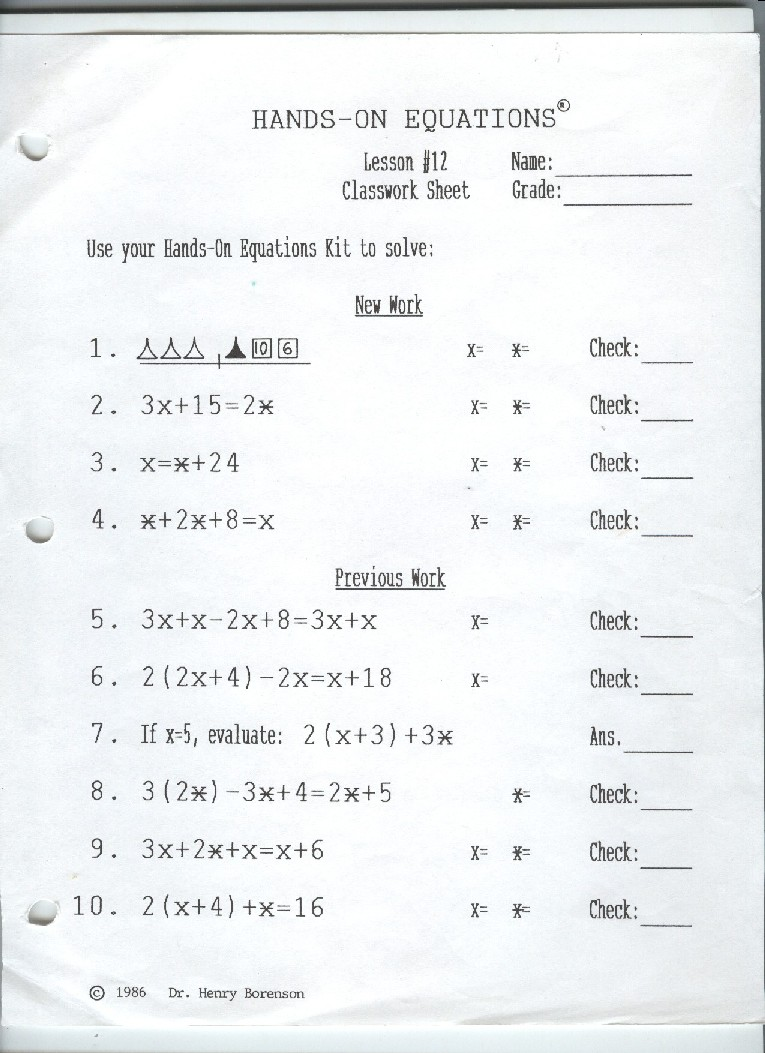 Worksheets Hands On Equations Worksheets tuesday october 23 2012 hands on equations lesson 11 12