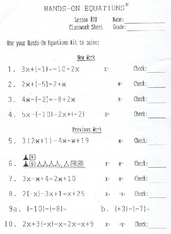 Hands On Equations Lesson 20 Answers - Tessshebaylo